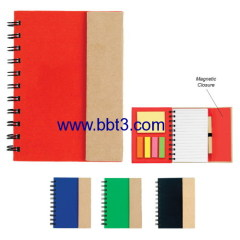 Pocket promotional eco notebook with magnet and ballpen