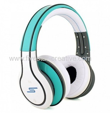 SMS Audio SYNC by 50 Cent Wireless Over-Ear Sync Series Wireless Bluetooth White and Green Headphones