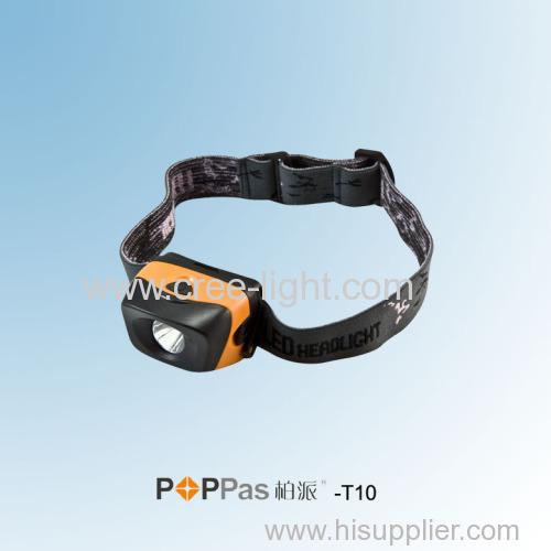 3 Brightness Levels 1w High Power Black Reflector LED Headlamp POPPAS-T10