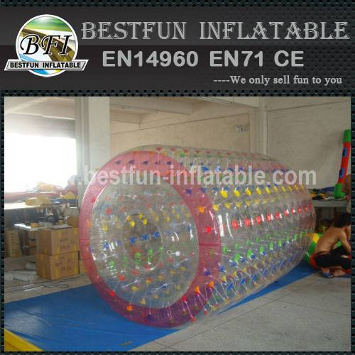 Fun inflatable roller floating on the water