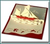 Yatch 3d card pop up greeting card