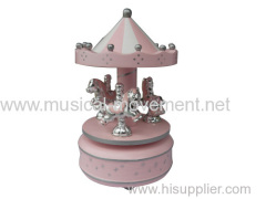 WOOD CAROUSEL SAFE MUSIC BOX