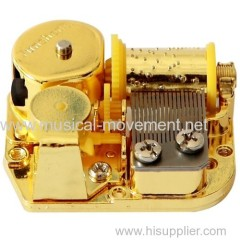 Colour Metal Clockwork Spring Music Box Movement Golden 18 Note