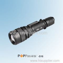 Rechargeable 350lumens CREE XM-L T6 Brightest LED Zoom Aluminum Flashlight POPPAS-S16