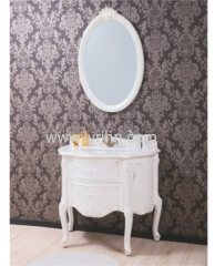 Stylish pvc bathroom cabinet cream outline in gold