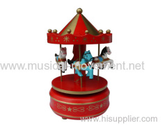 RED WOOD WIND UP MUSICAL CAROUSEL