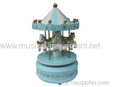 BLUE WOOD CAROUSEL MUSIC BOX