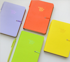 32K Narrow Ruled Elastic Binding Journal With Folder