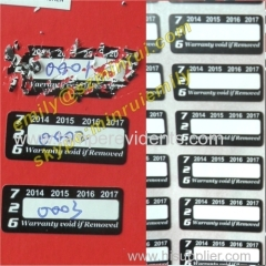 Custom Writable Security Tamper Evident Self Adhesive Warranty Stickers Printing In Rolls