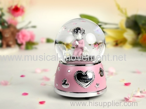 PINK SNOW WATER GLOBE SAFE MUSIC BOX