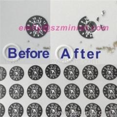 Custom Crushd Ultra Destructible Vinyl Black Round Warranty Date Stickers Printing