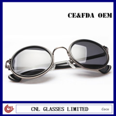 Personalized Retro Round Sunglasses Vintage Metal Acetate Combination Sunglasses