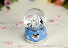 Rocking Horse Snow Water Globe Wind up Polyresin Muisc Box