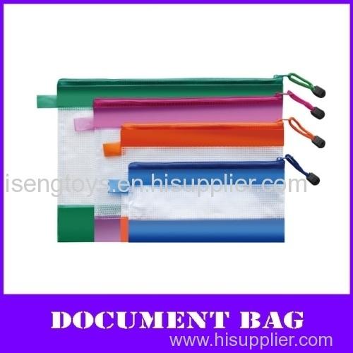 color a4 pvc zipper file mesh bag