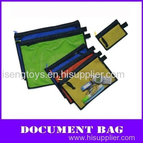 color pp multi-function zipper file mesh bag