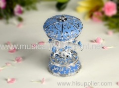 Musical Blue Polyresin Carousel