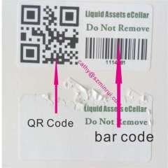 Custom tamper asset ID label tag with printed barcode