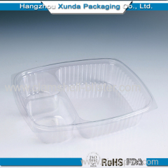 Plastic food box with dividers
