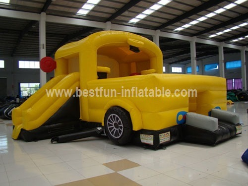 Bus inflatable bouncer slide combo for sale