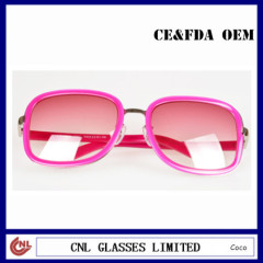 Bright Red Square Metal Rim Fashion Womens Sunglasses Brands