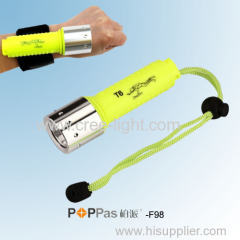 300lm High Power Waterproof IPX8 CREE XM-L T6 Diving LED Flashlight POPPAS-F98 With Velcro Belt