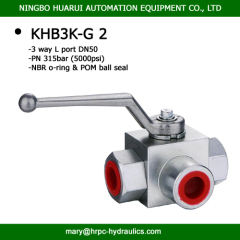 2 inch 3 way high pressure BSP thread hydraulic ball valve