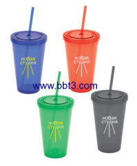 Promotional plastic double wall tumbler with straw