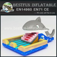 Inflatable shark eaters park
