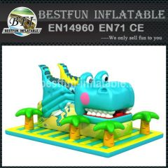 Giant inflatable crocodile slide