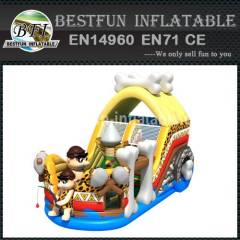 Inflatable slide cavemen theme