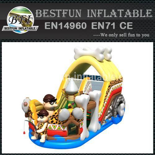 Inflatable slide cavemen theme