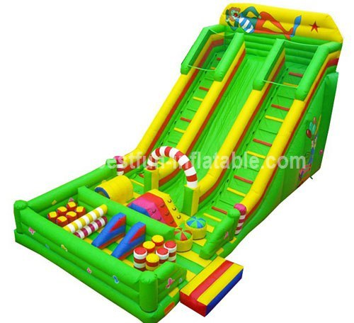 Colorful obstacle inflatable slide clown