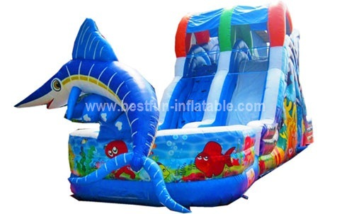 Exciting inflatable fish slide for adults