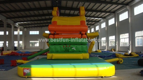 Inflatable amusement air fish slide