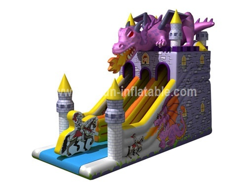 Inflatable Knight and dragon castle slide