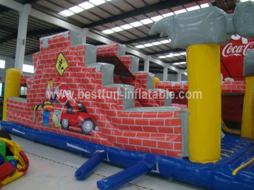 Newest Design Cartoon Builder Inflatable Slide