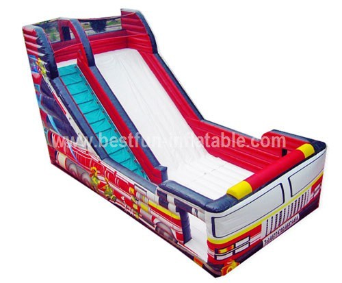 Water tank inflatable fire truck slide