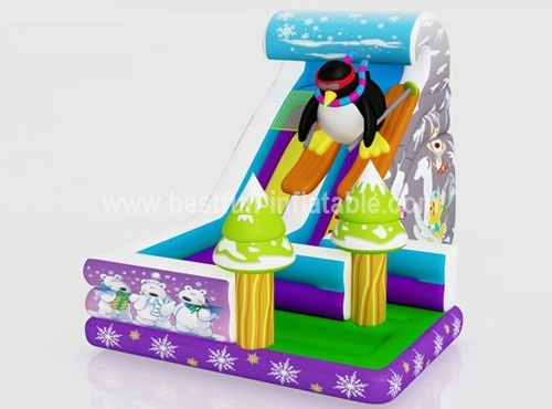 Penguin giant inflatable with slide