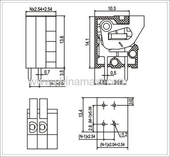 screwless terminal block connectors push button mx141r
