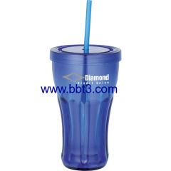 Promotional plastic single wall soda tumbler with straw