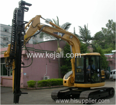 Excavator mounted hydraulic drilling machine