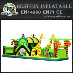 Inflatable Obstacle Course with Giraffes