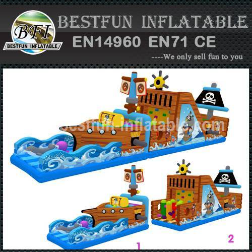 Large inflatable obstacle course pirate ship