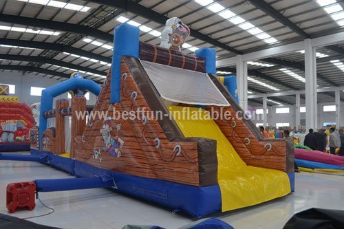 Inflatable Pirate Discovers Obstacle Courses