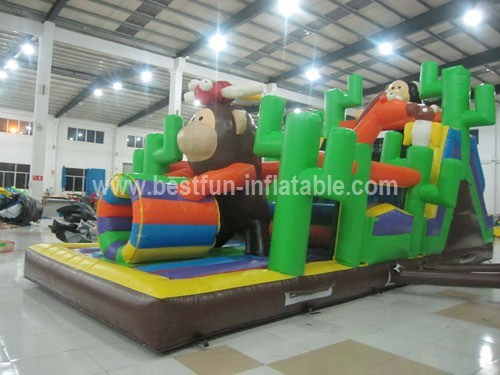 Lovely monkey inflatable obstacle course sport bouncy