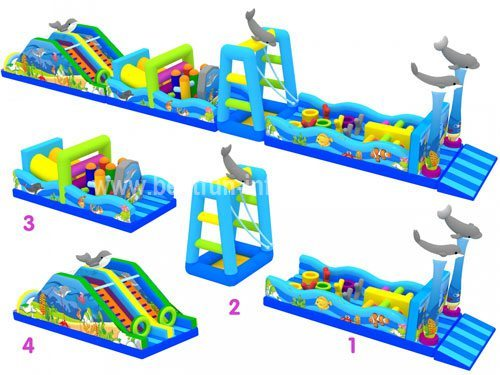 Children Playing Items Sea Themed Obstacle Course