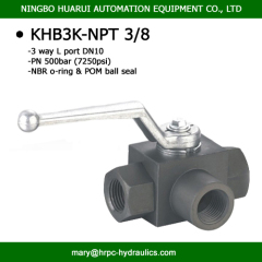 high pressure 7250 psi 3 port 90 degree 3/8 inch NPT female thread ball valve