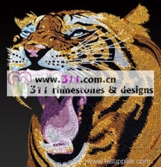 311 animal tiger hot-fix heat transfer rhinestone motif design