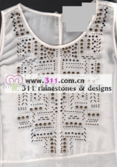 311 copper studs neckline hot-fix heat transfer rhinestone motif design 1