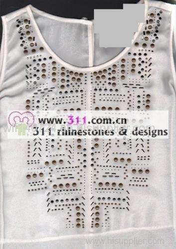 311 copper studs neckline hot-fix heat transfer rhinestone motif design 1